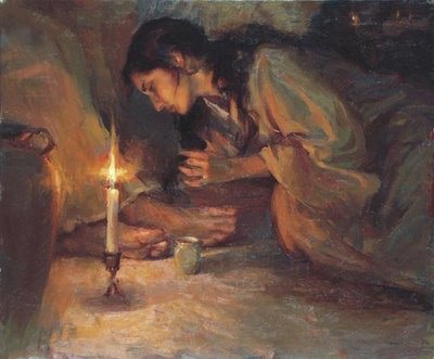 Mary of Bethany wiping Jesus's feet with her hair.