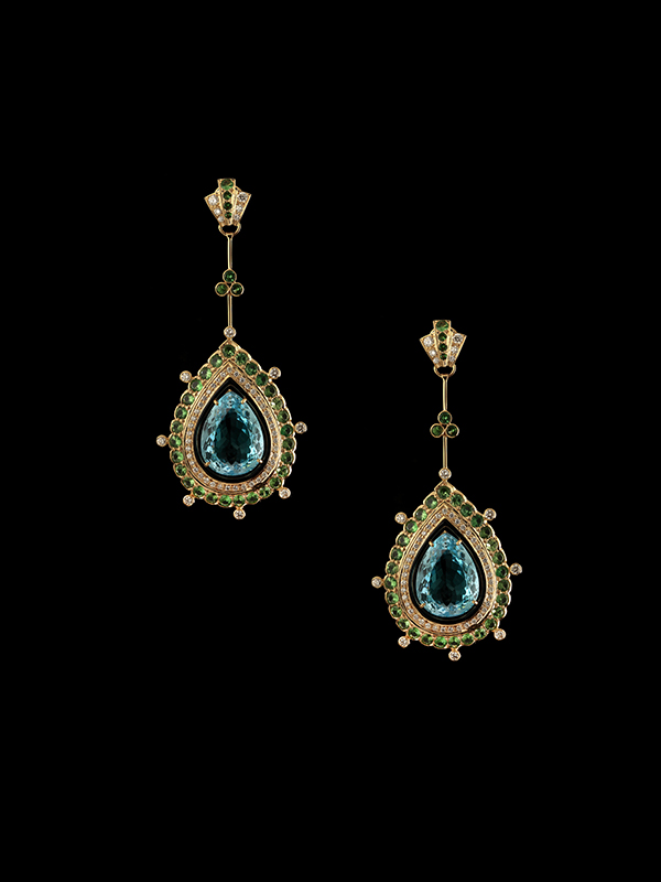 Blue Topaz, Green Tsavorite, Diamond and Enamel Tsarina Earrings