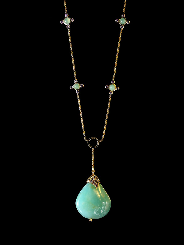 Peruvian Opals with Lavender Sapphire Necklace
