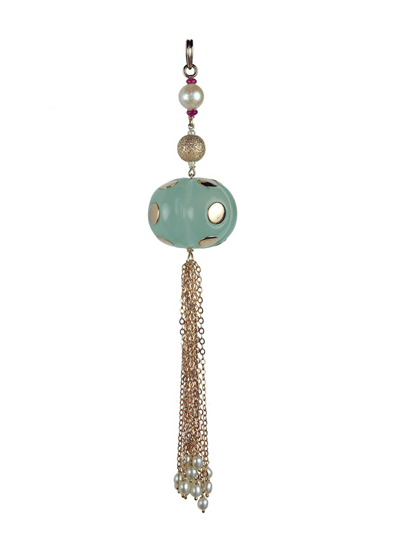 Chalcedony Oversized Roundelle Pendant with South Sea Pearl and Gold Chain Accents
