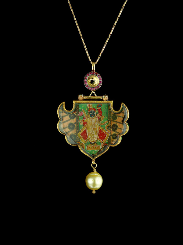 Antique Nathdwara Pendant with Crystal and Ruby Bullet Detailing