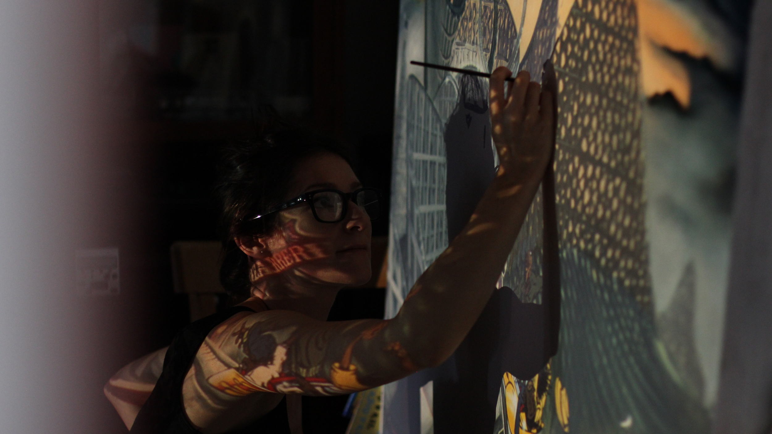Me working on a projection illustration for a good friend. It looks like I'm tattooed!
