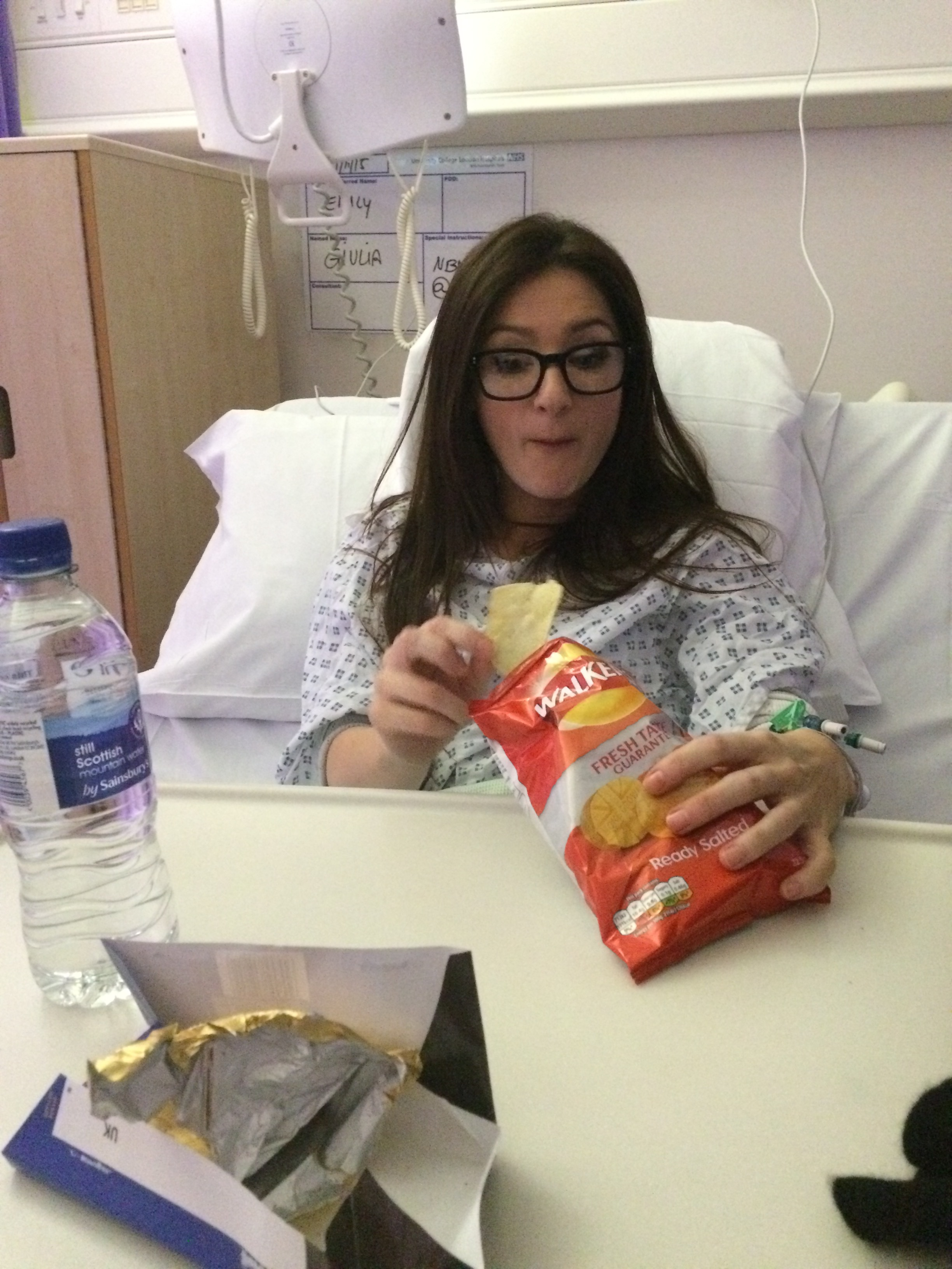A recent visit to charming London hospital, I scoff crisps. mmm.
