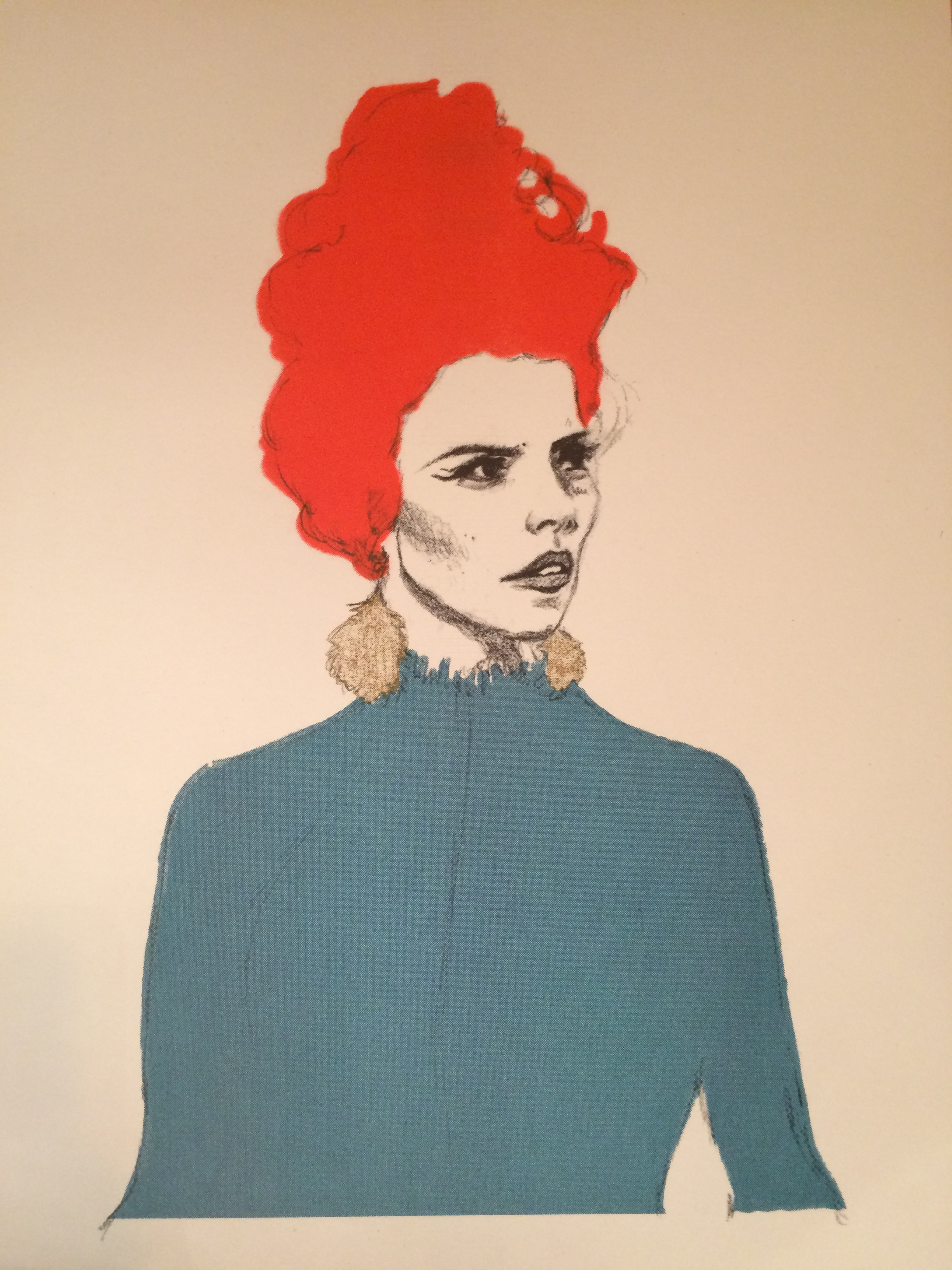 The red hive, the gold earrings the teal top.... classic Yuletide Paloma. Risograph print executed by the brilliant Dizzy Ink.