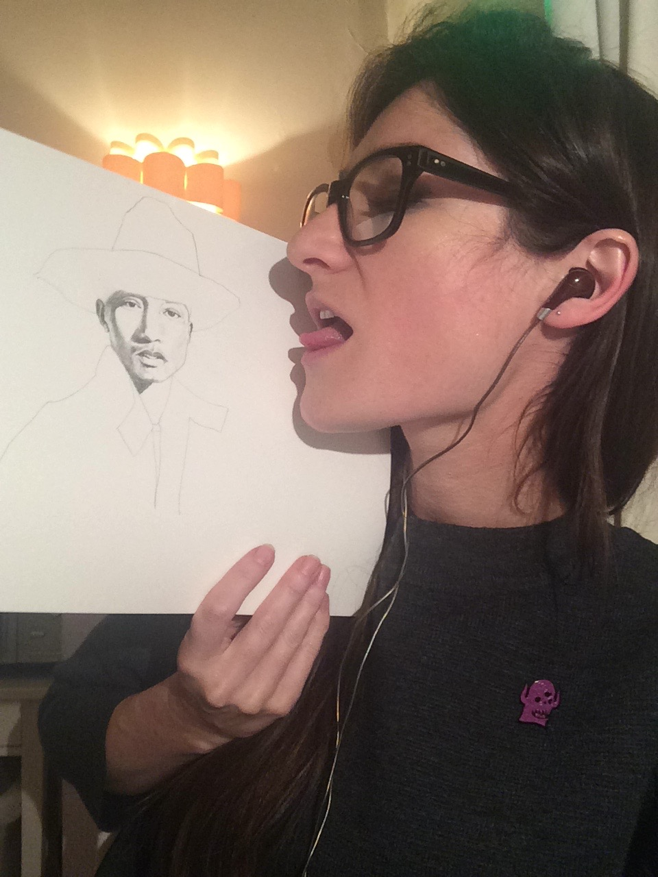 Me licking Pharrell in his Sprout Hat.