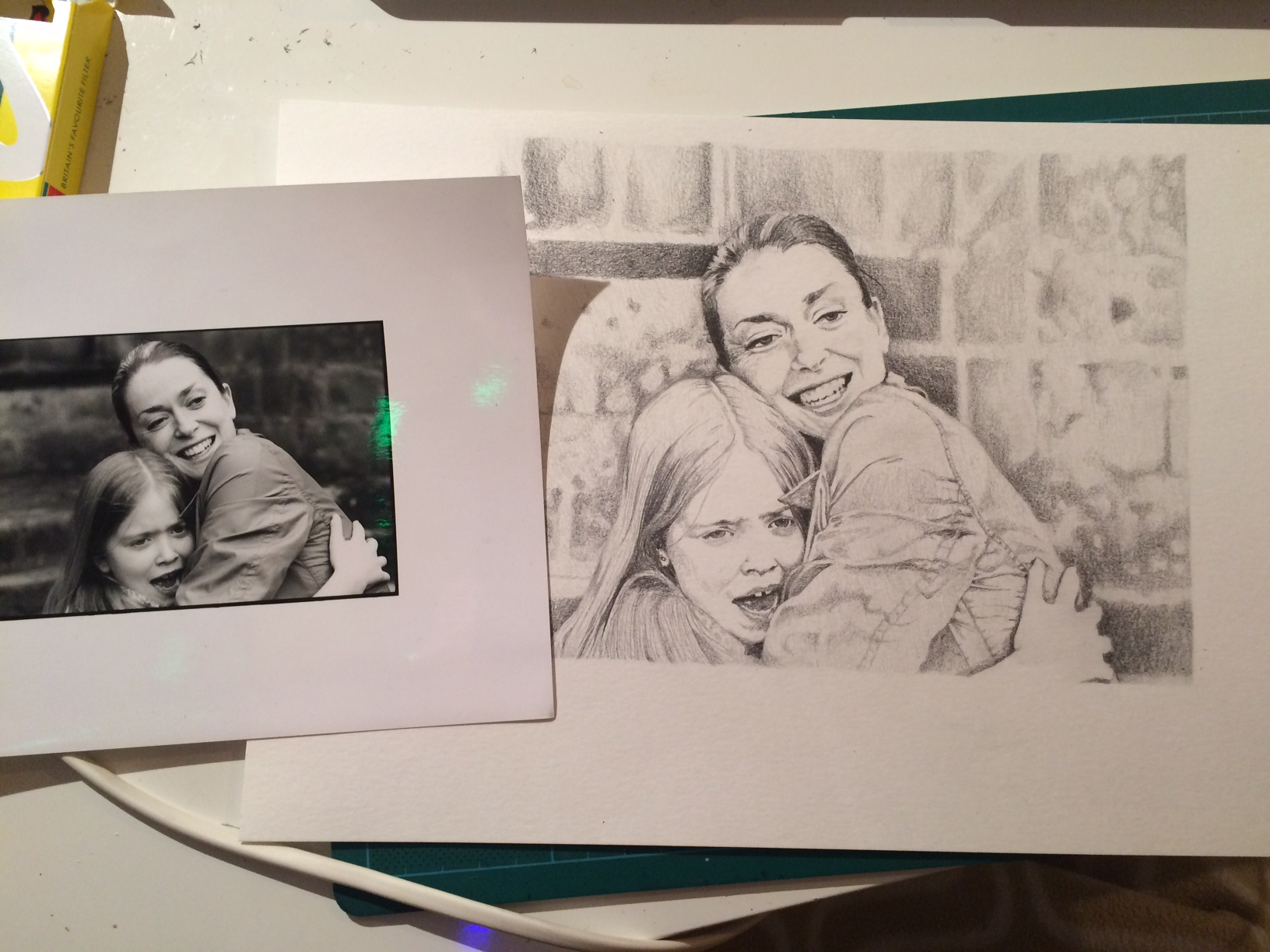 The original photograph I was working from and my illustration....
