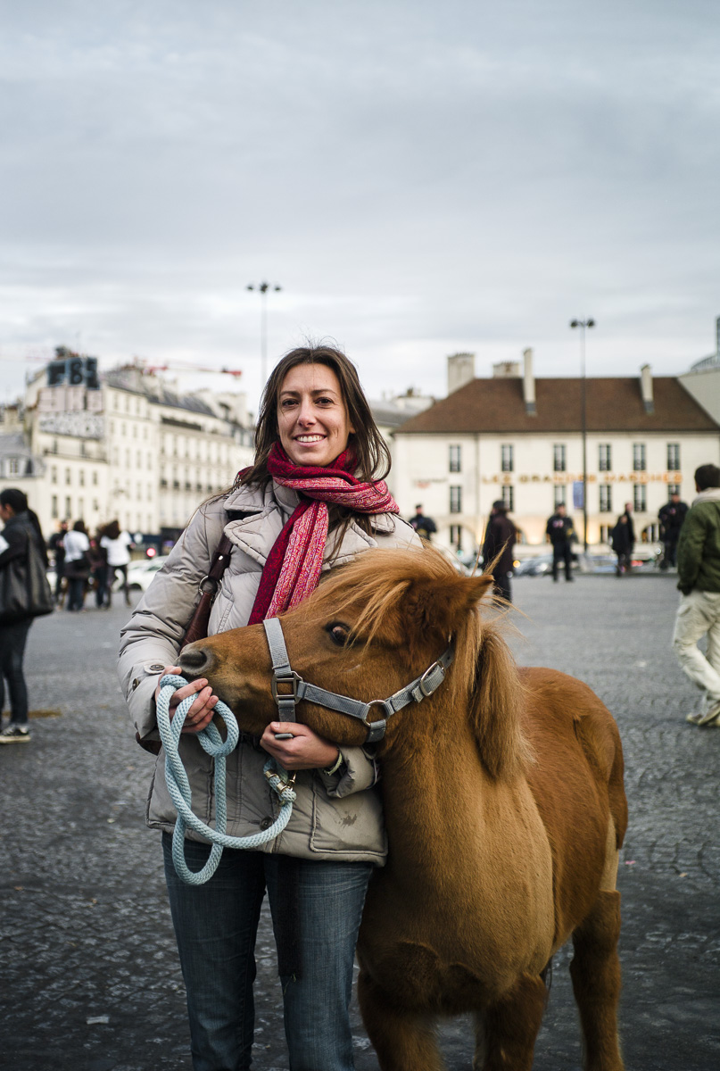 Horse school trainers protest in Paris against VAT increase on riding lessons.