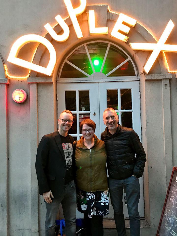 Writers Scott Schneider, Bizzy Coy and Tim Aumiller outside The Duplex Cabaret Theatre.