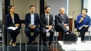L-R: Gabriella Rigg Herzog (USCIB), Daniel Schwartz (Mastercard), Chris Gray (Pfizer), Shaun Mickus (J&J), Louise Kantrow (former Permanent Representative of the ICC to the UN)