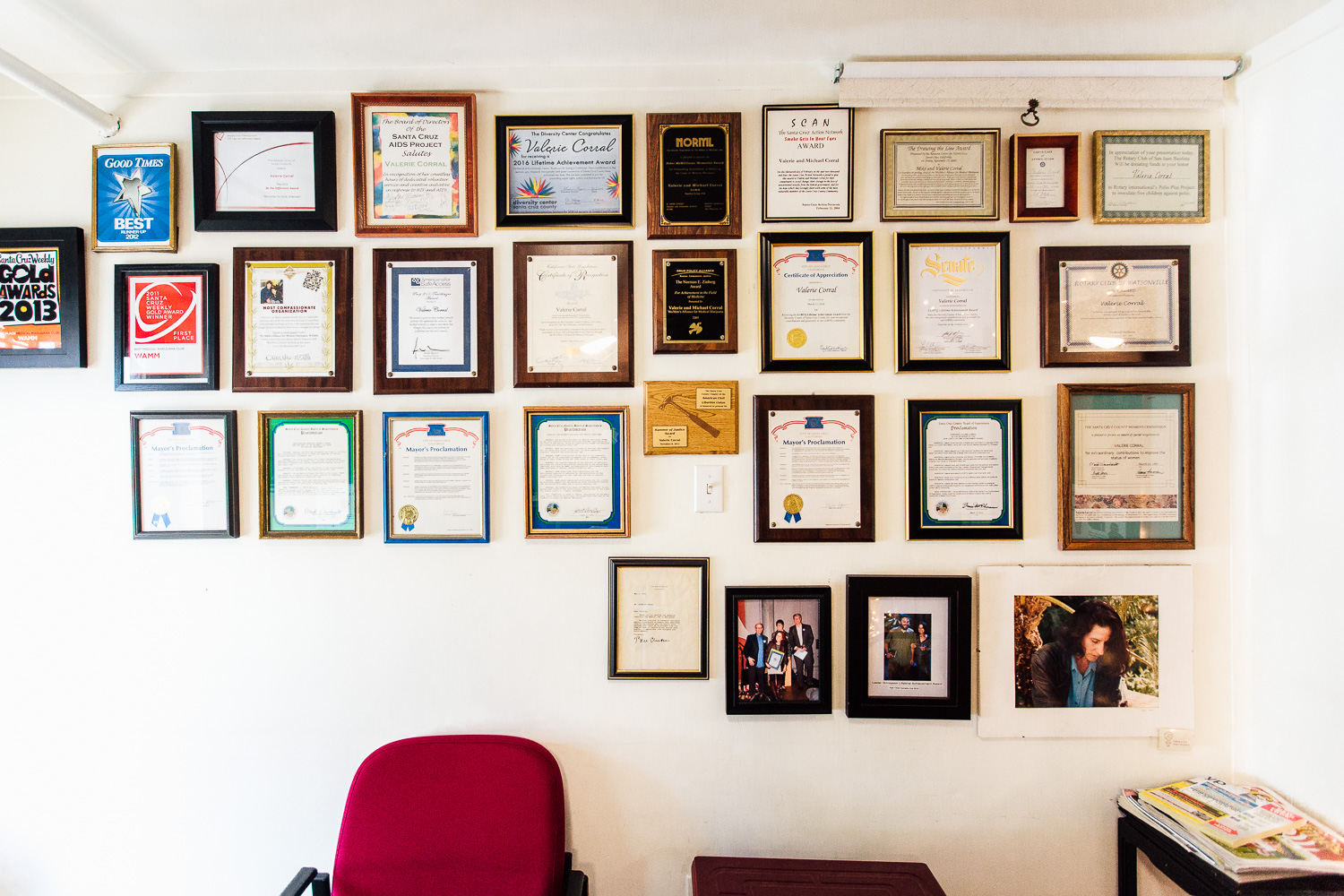 The waiting room at WAMM. Filled with prices and rewards Valerie received for her work.