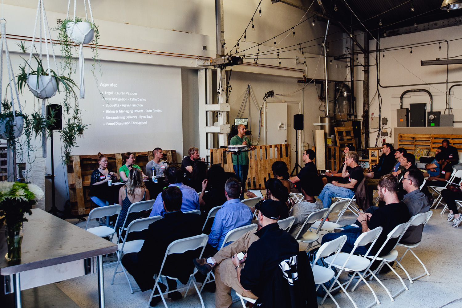 Community meeting in the community space of their San Fransisco based office.