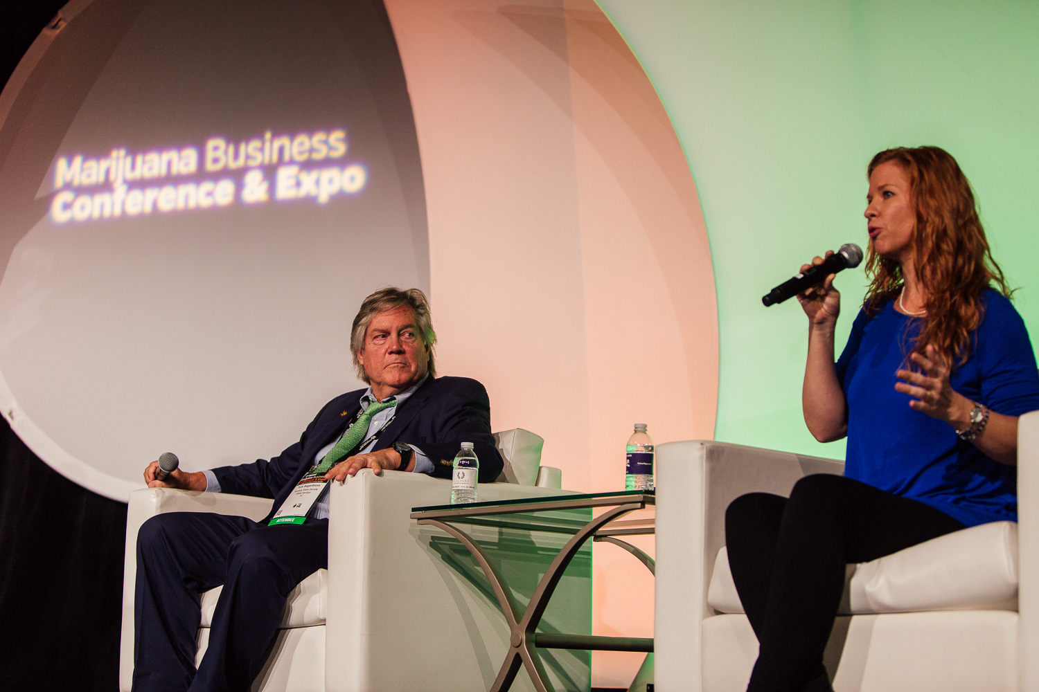 Dale Sky on stage next to Nevada State Senator Tick Segerblom at the Marijuana Business Conference & Expo November.