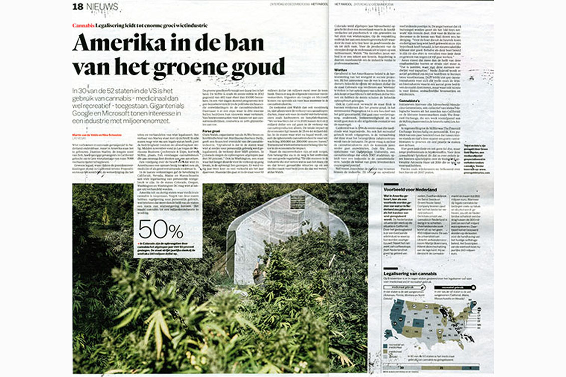 "article dutch newspaper parool (in dutch)    ""the usa in under the spell of the green gold"""