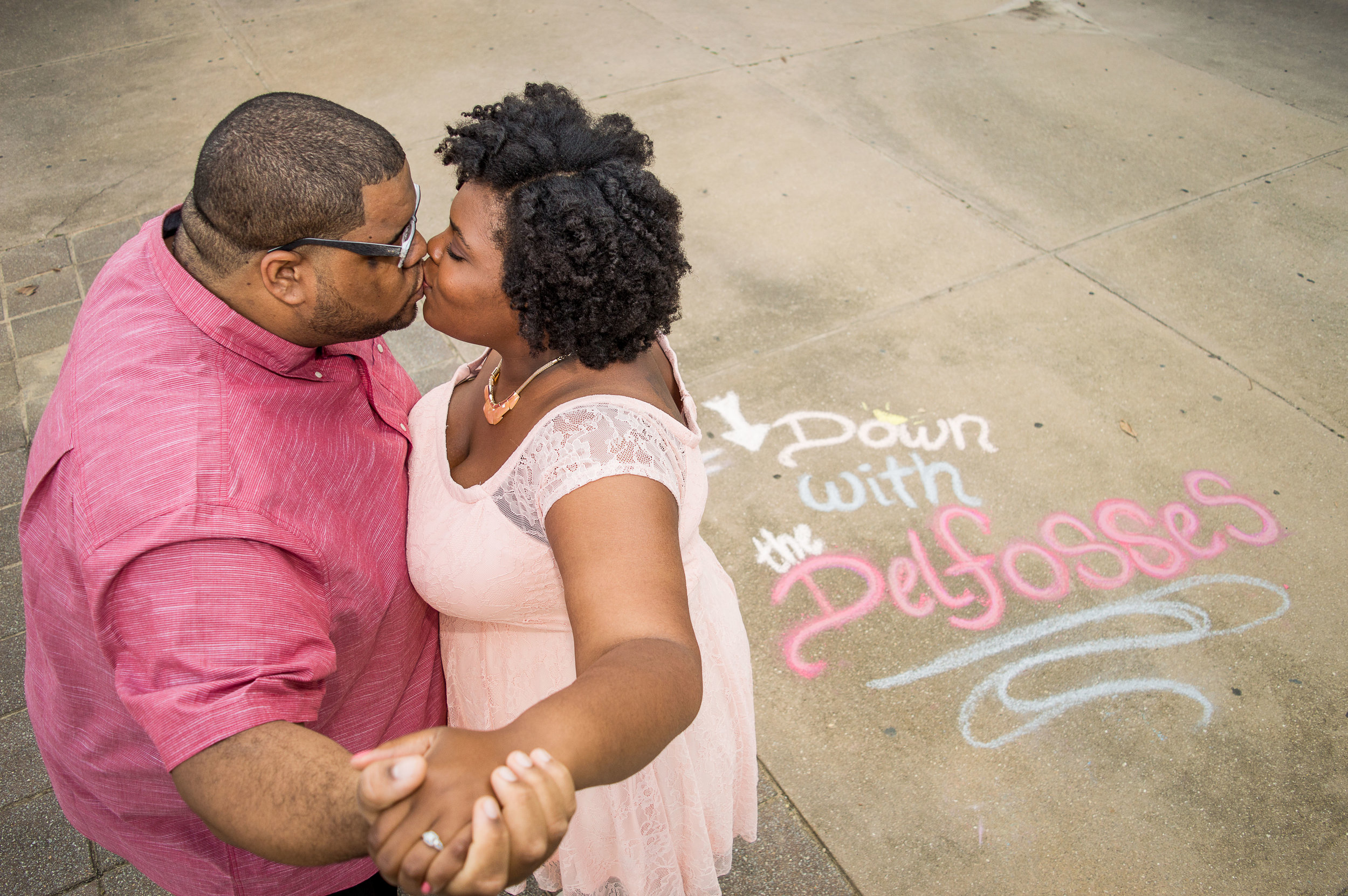 Ricky and Alaysha took a short break to change outfits while I created some chalk artwork to announce their wedding's hashtag. I always enjoy getting to put my creative spin into a session, especially when its an unexpected spin! -