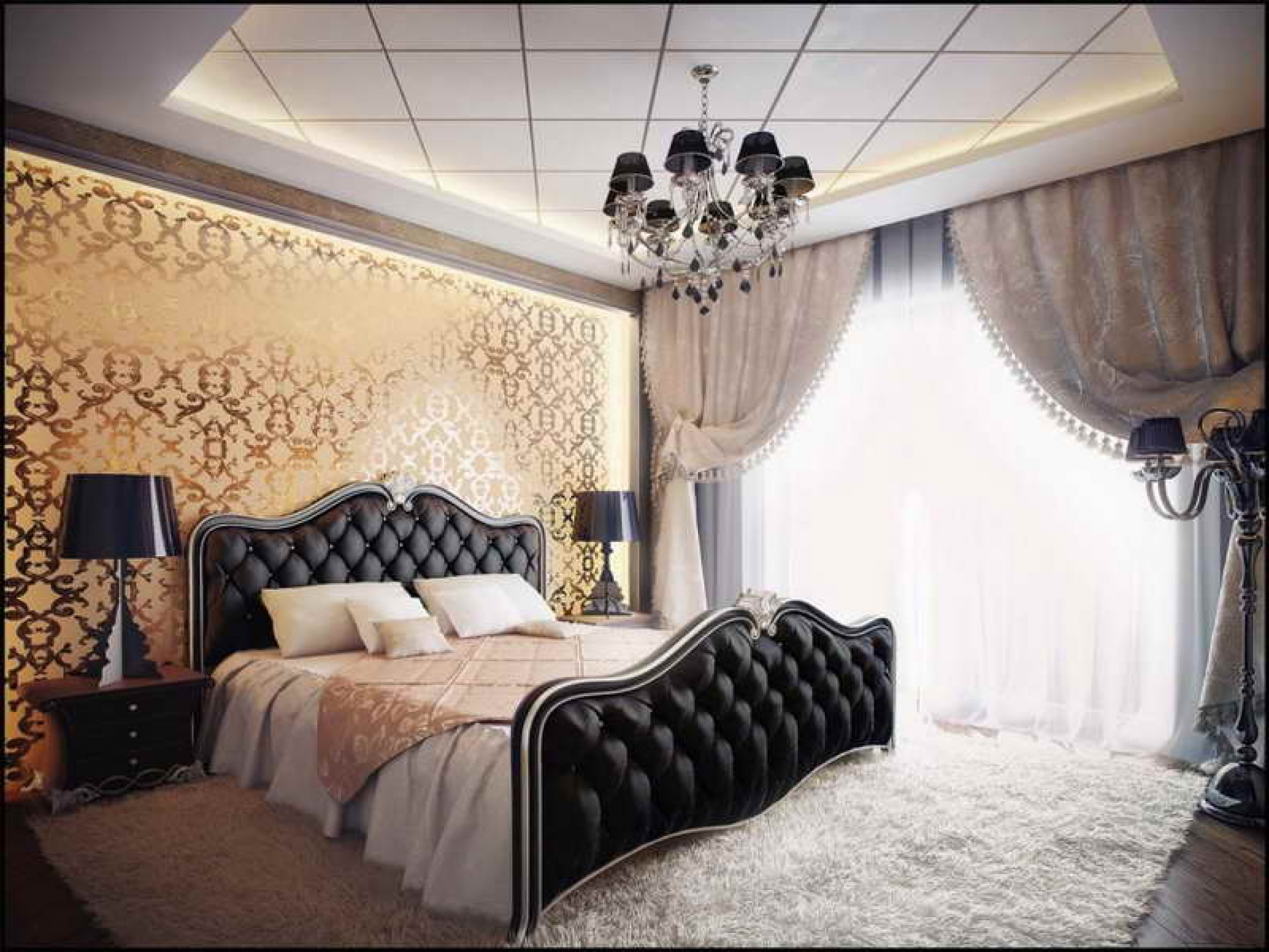 Gray, black, and white bedroom