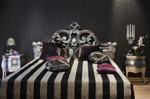 Striped Dark Bedroom