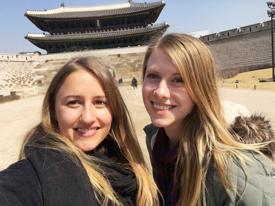 Astrid, my roomate, and I at  Gyeongbokgung Palace  in Seoul.