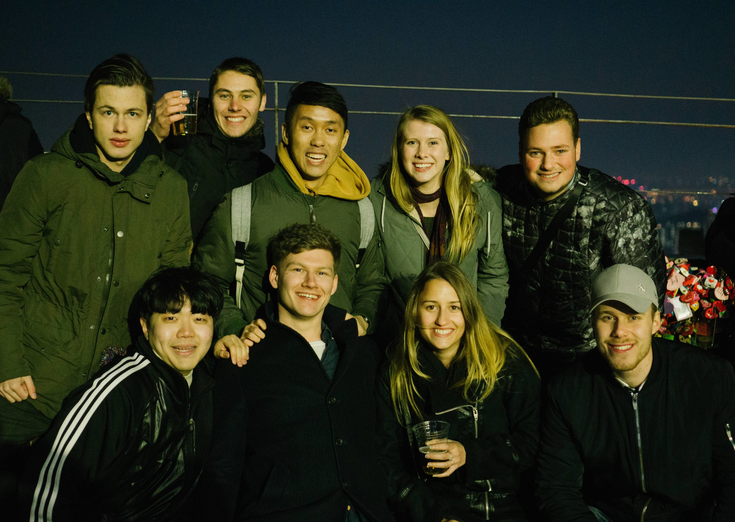 Some of the other exchange students and I on top of Seoul Tower
