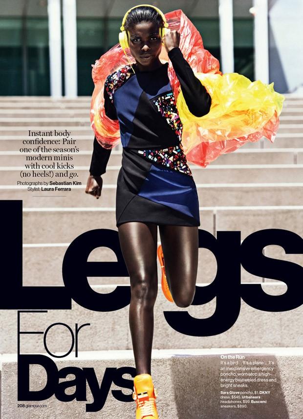 Sara Glove poncho, $1, DKNY dress, $545, Urbanears headphones, $99, Buscemi Sneakers, $890.