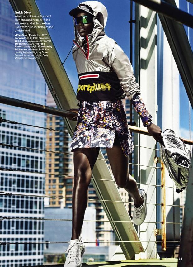 VFiles Sport Plus Jacket, $220, Carven Dress, $1,200, Celine sunglasses, $465, adidas by Raf Simons sneakers, $455.