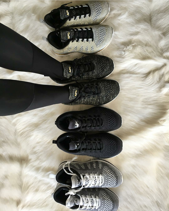 Kourtney Kardashian showed off the APL goods with this snap of her  Athletic Propulsion Labs  treasure trove.  Want the sneaks Kourt is wearing? Peep the APL Women's Techloom Pro in Black/Gold/Silver  here.