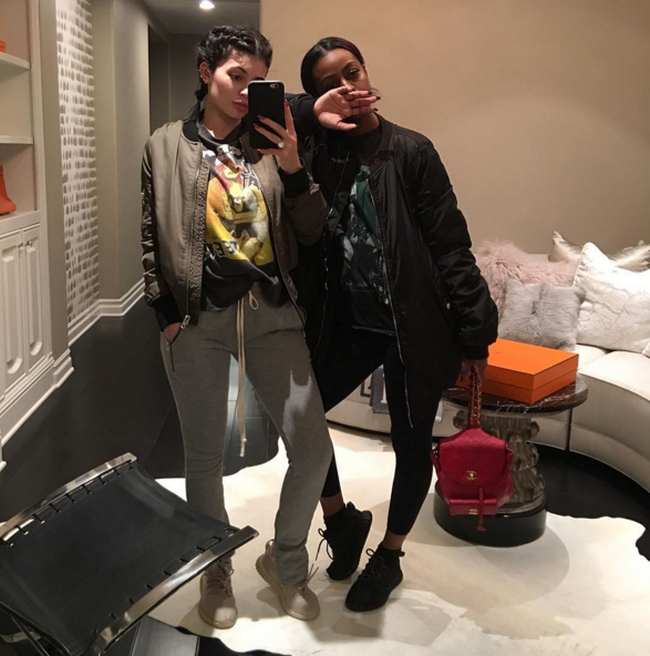 """Kylie Jenner and Justine Skye in the  adidas Yeezy Boost 350 """"Tan"""" & """"Pirate Black"""""""