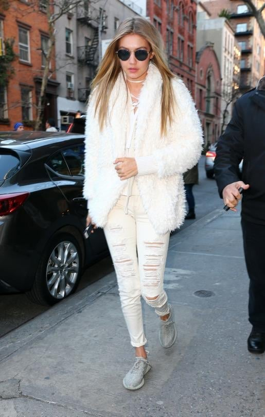 Gigi Hadid wearing adidas Yeezy 350 Boost  Sneakers in Moonrock