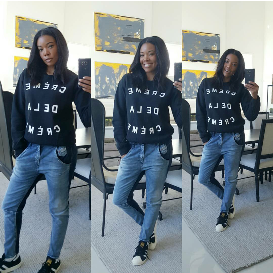 Gabrielle Union is becoming quite the sneaker aficionado and we're totally here for it. The actress cozied up in a Creme de la Creme sweatshirt and  adidas Superstar shell toe sneaks.