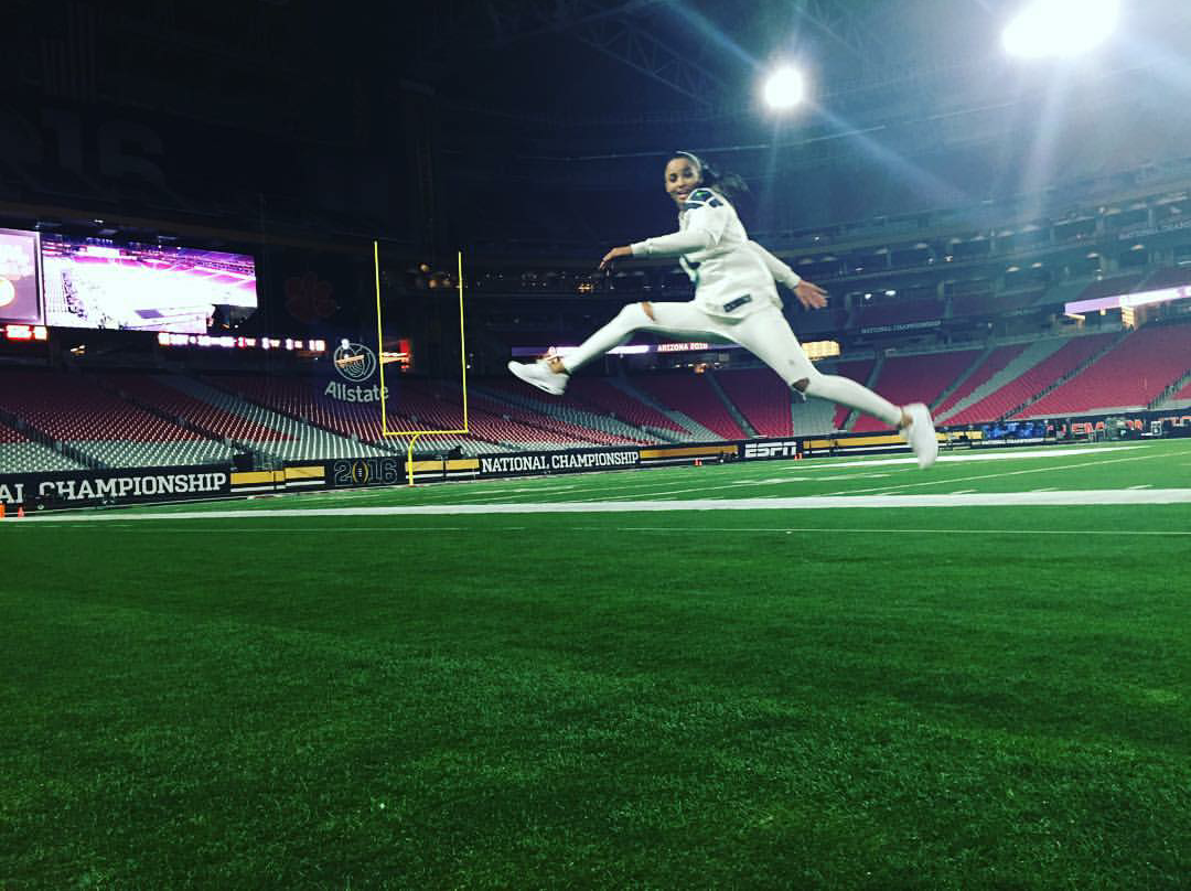 It was one giant leap for Ciara the other day as the singer took flight before her performance at this year's National Championship game in a pair of  Nike Air Max 1.