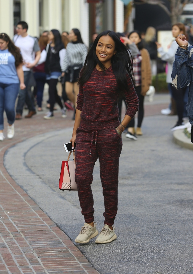 Karrueche Tran did some shopping at The Grove in the  adidas  Yeezy Boost 350.