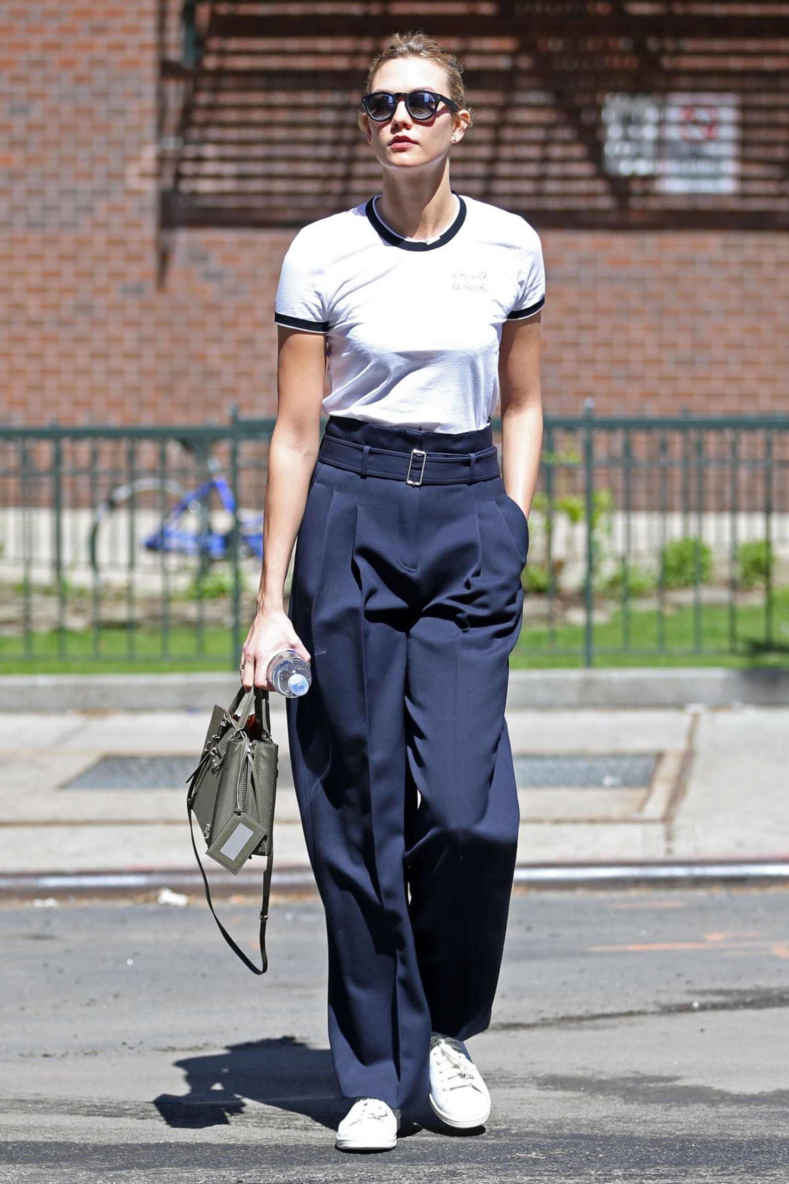 Karlie Kloss made her way around NYC in the  adidas Stan Smith