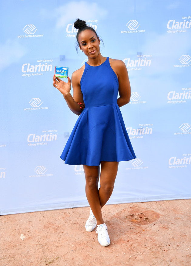 Kelly Rowland attended an appearance for Claritin and The Boy & Girls Club in a beautiful blue dress and Nike Cortez  'Cherry Blossom'
