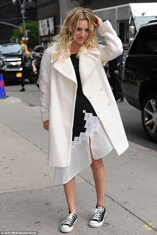 Kaley Cuoco made an entrance in NYC in  Converse Chuck Taylor All Star Classics.