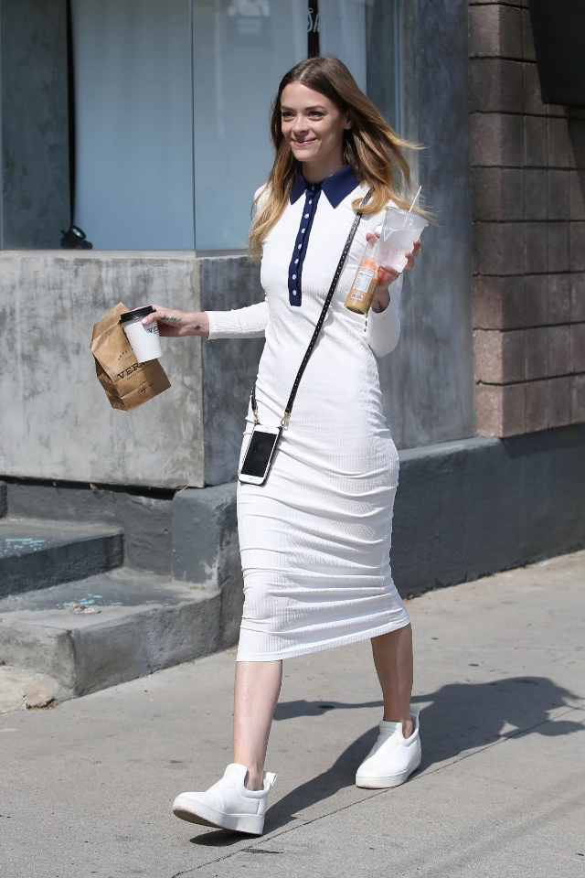 Jaime King strutted her stuff in LA wearing Celine Nappa Pull on Sneakers and a  Smythe Polo Dress