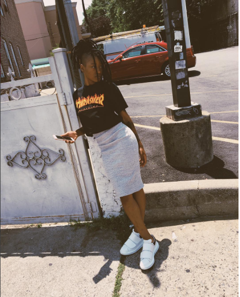 Keke Palmer posted up this week looking fab in  McQueen Leather 'Pelle'sneaks , a Thrasher Mag cropped tee, and  James Perse Ribbed Bodycon tube skirt .