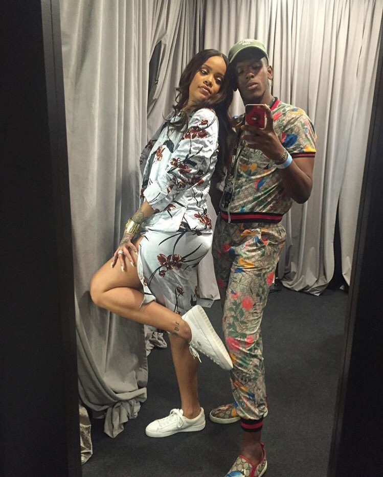 Rihanna has gone international on her world tour. This week she made a stop in Milan where she kept it cute with fans and showed off her  Puma Basket Classics  paired beautifully with  floral separates from Danish brand, Ganni.