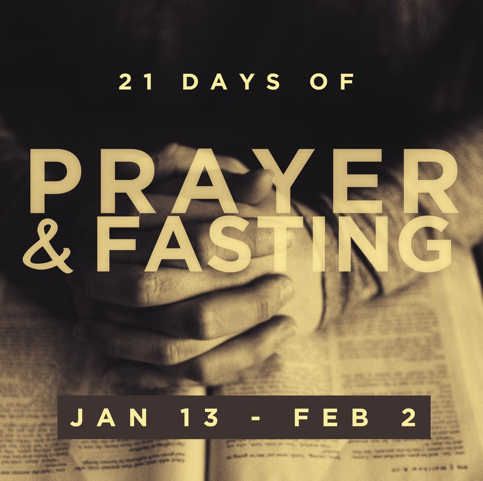 21 DAYS OF PRAYER AND FASTING | JAN 13   As we kick off the new year, we want to prepare our hearts for all God is going to do in our church this next year. We believe that prayer always precedes a mighty move of God, so as we move through our 21 days of prayer and fasting, we seek God's will for our church, city, nation, and world.   Download a digital copy of our prayer booklet  here .  Fri., Jan. 18: Team Night (For All Volunteers) 7-9PM Wed., Jan. 23: FB Live* w/ Ben Hester @ 12PM Wed., Jan. 30: Night of Worship & Prayer 7-8PM Sat., Feb. 2: FB Live* w/ Chuck Land 9AM  * Join us as we come together as a church via Facebook Live for prayer led by a staff member. Access via the Crossbridge Facebook page or click  here .
