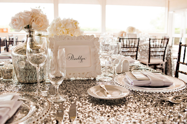 Champagne Colored Sparkle/Sequins Linen & Silver Satin Napkins for a Classy, Elegant Wedding!