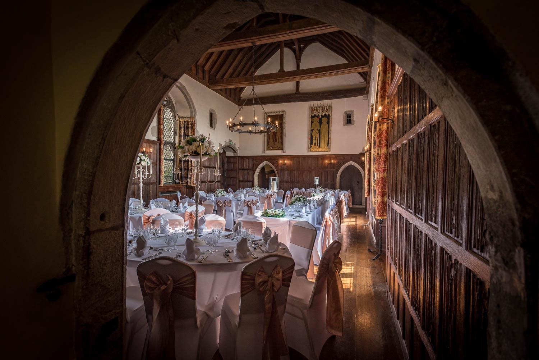 Lympne Castle Great Hall decorated foe a wedding celebration