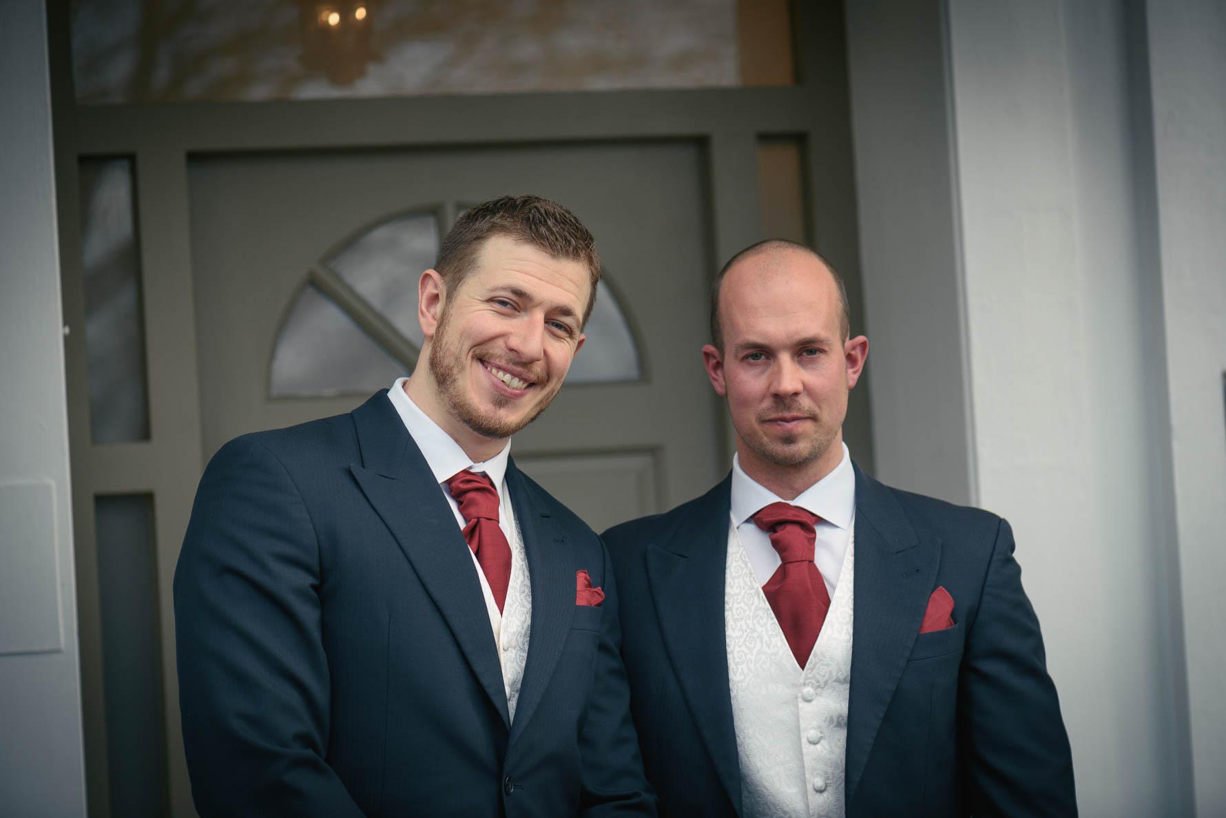 Groom and Best Man at Hadlow Manor wedding venue