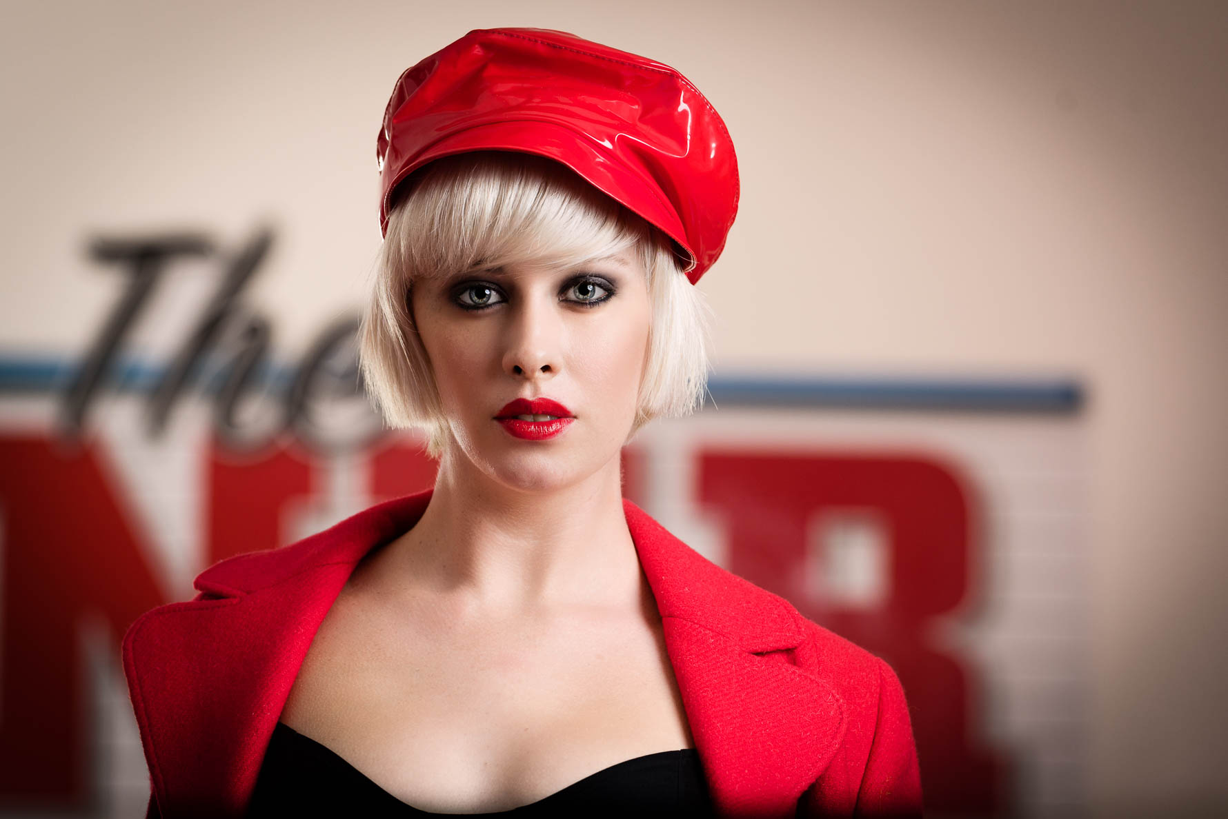 Fashion PR photography Kent - Pretty blonde model in red hat