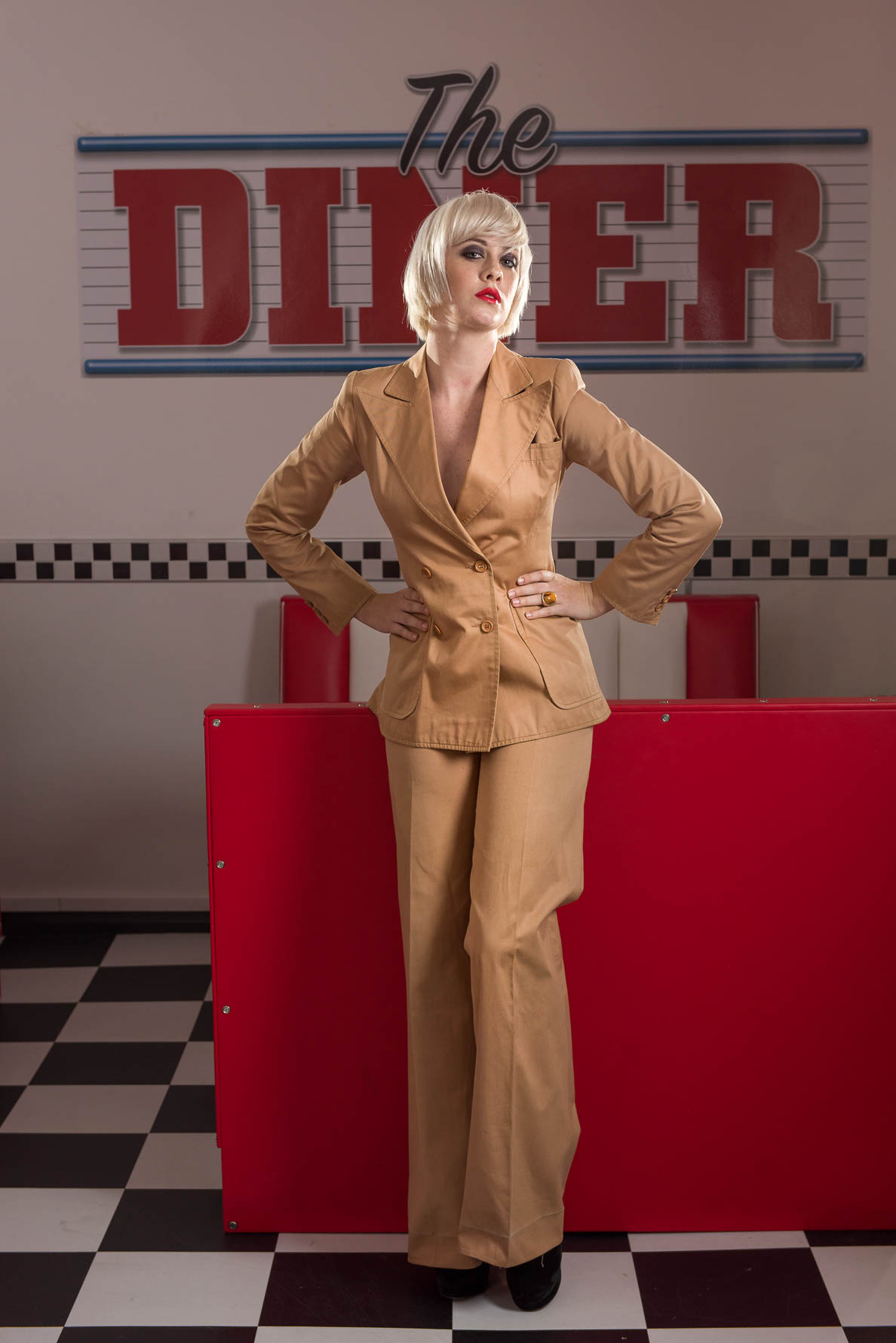 Fashion Photography - Pretty model in Diner