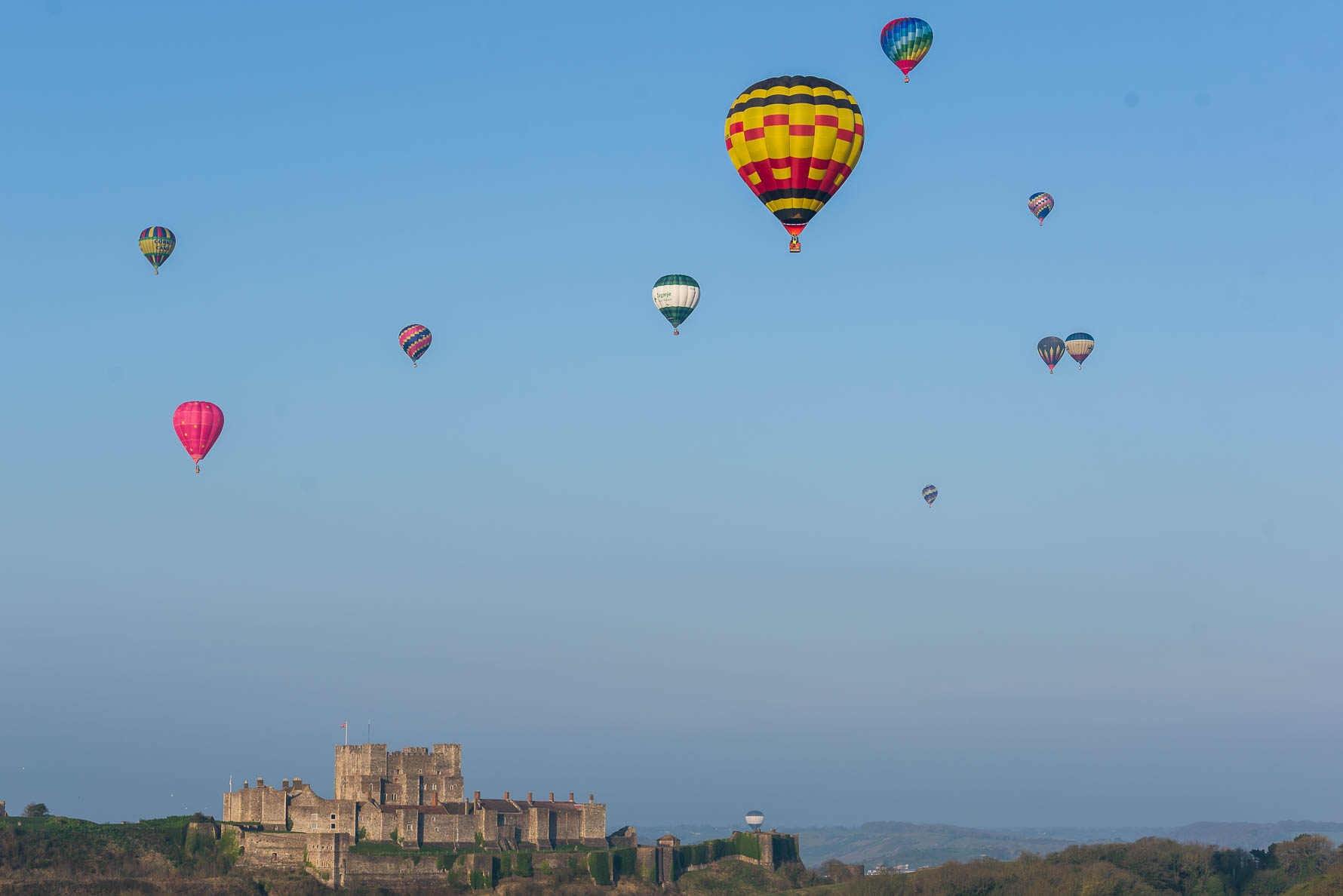 Hot ait balloons flying over Dover Castle