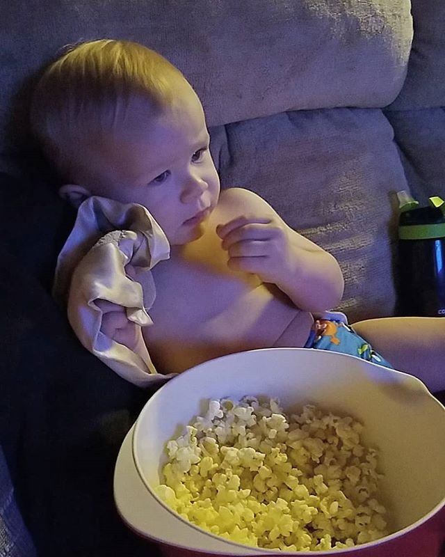 I don't know who's more #tired, me or him. #quiettime #withmommy #snacking #popcorn #webothneedsleep #watchingpjmasks #somuchfornoscreentime