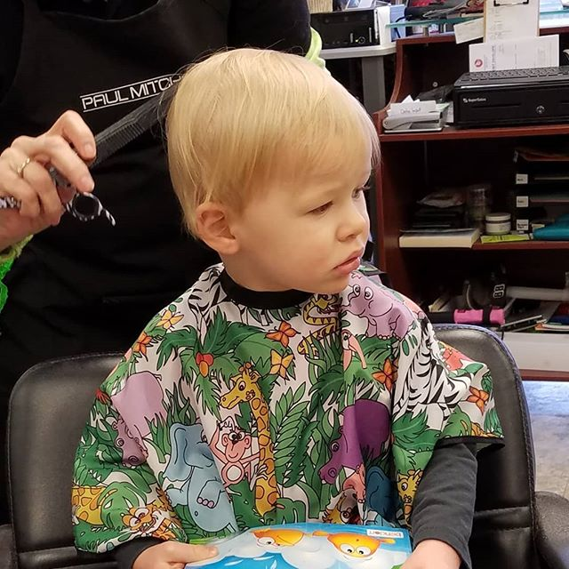This guy got his first haircut today and he did great.