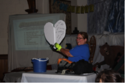 Pastor jan doing a DEMONSTRATION   during VBS