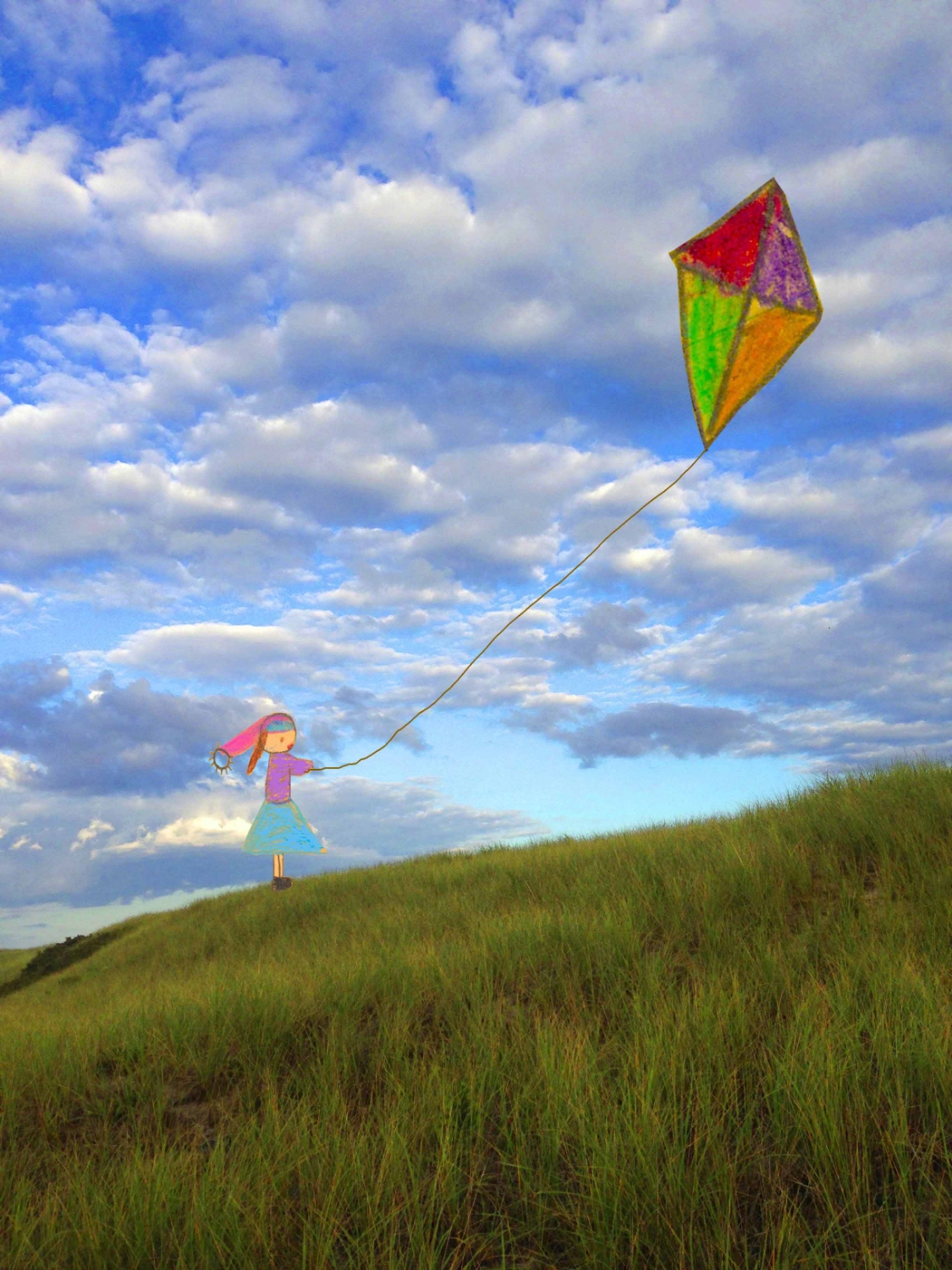 Girl with a Big Kite