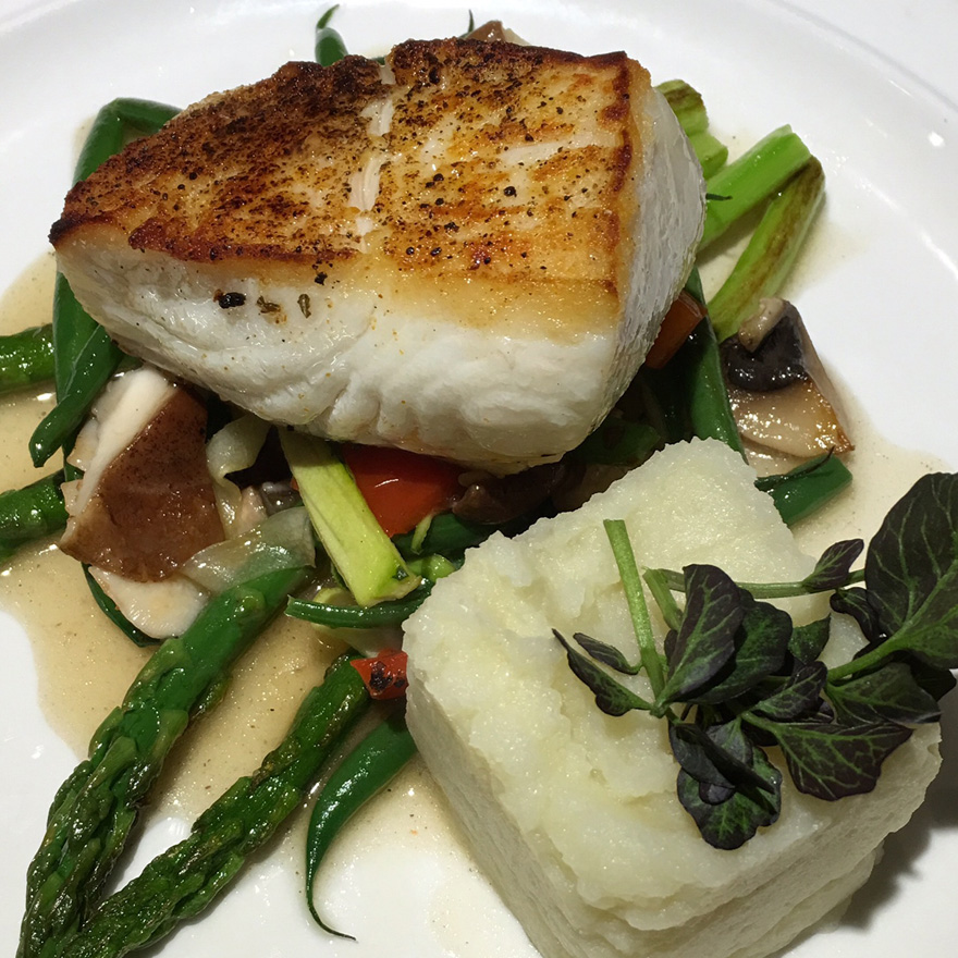 Halibut / asparagus / zucchini ribbons / shiitake / French beans / cauliflower puree / dashi