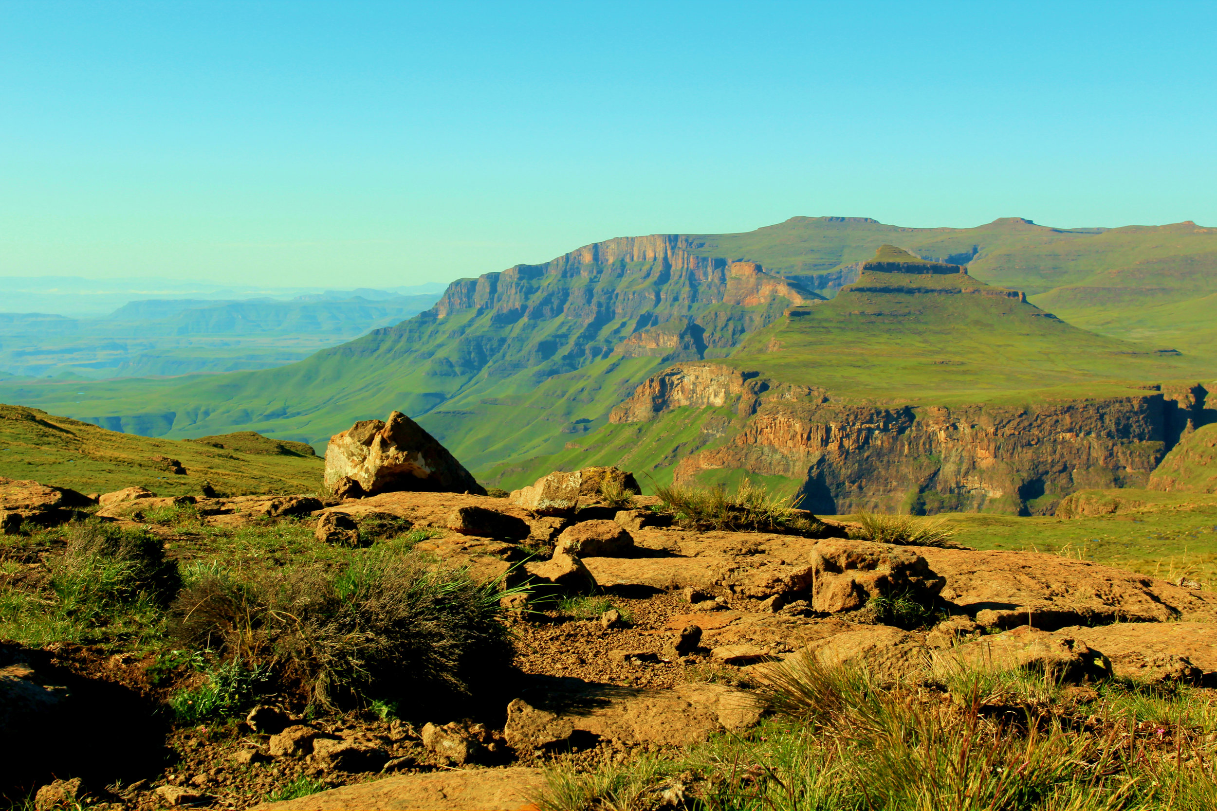 Looking into Lesotho from the top of Giant's Castle Pass