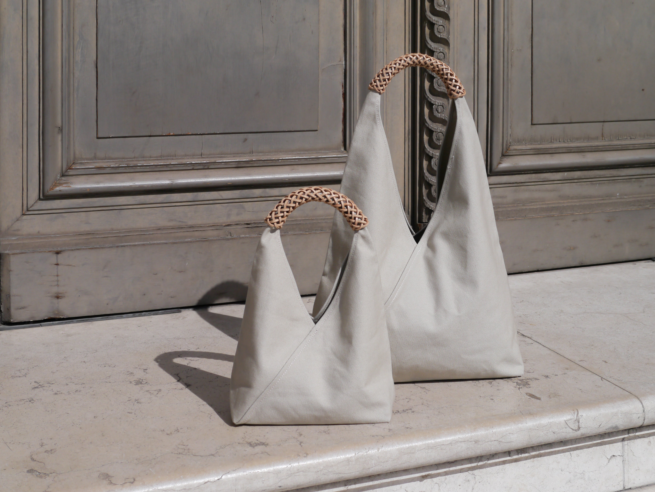 Woven Triangle Bags - Glad to find the colour and structure of the triangle bags fits nice with Musée du Louvre.